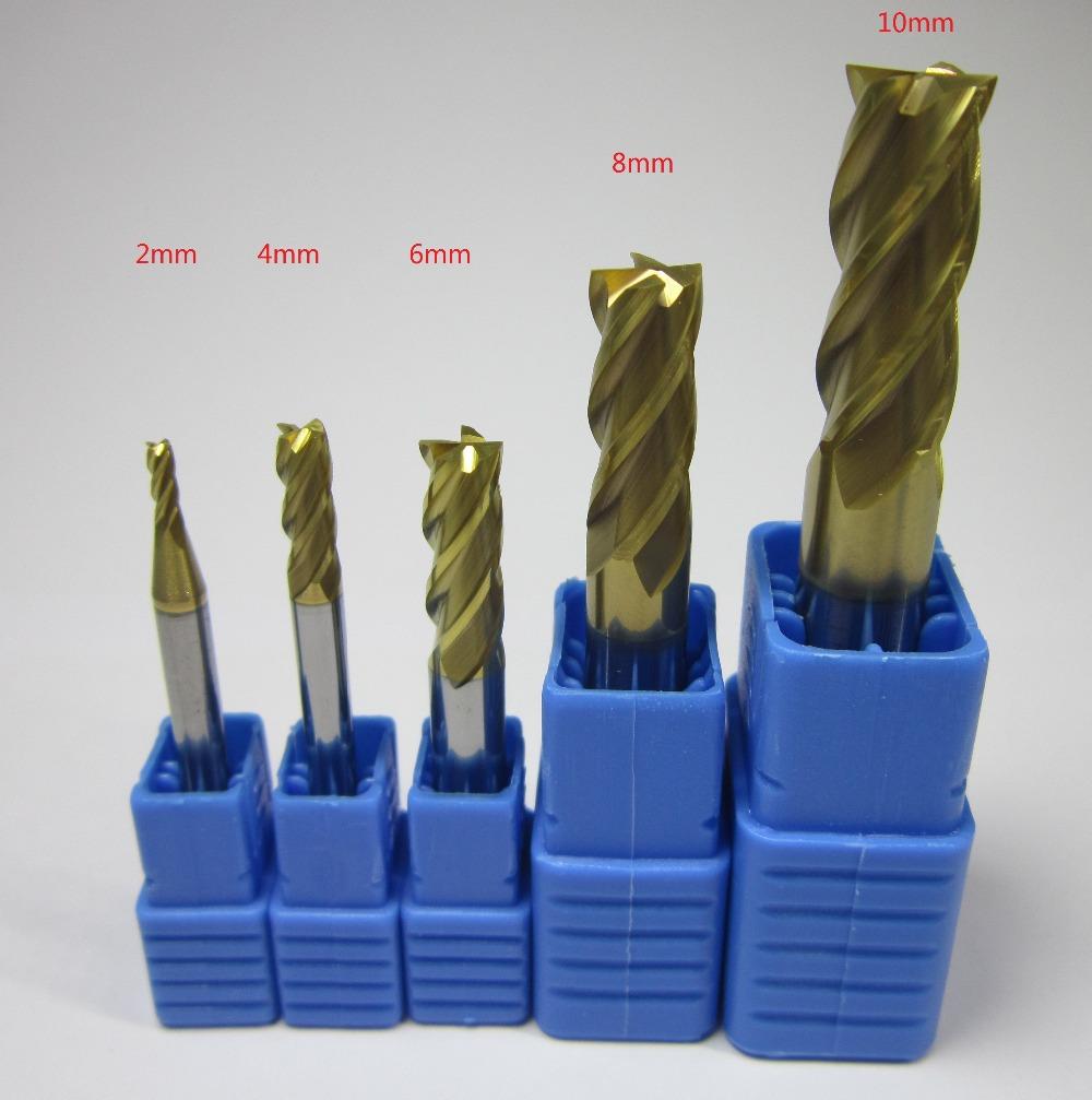 HRC58 four 4 flutes 2 4 6 8 10 MM tungsten carbide end mill / milling cutter 4F CNC machine mills cutting tool set bits <HRC60(China (Mainland))