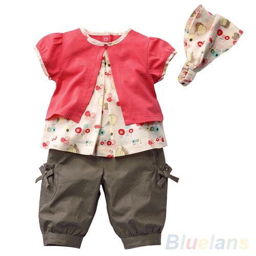 3 Pcs Kids Baby Girls Fruits Pattern Top+Pants+Hat Set Outfits 0-3 Years Clothes <br><br>Aliexpress