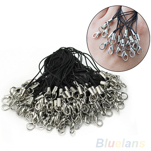 100 Pcs Black Cell Phone Lanyard Cords Strap Lariat Mobile Lobster Clasp Mobile 08DP(China (Mainland))
