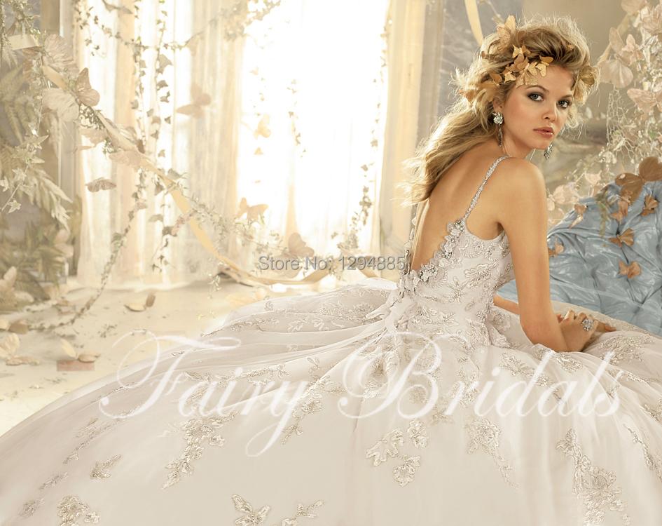 2015 new arrival elegant ball gown spaghetti strap beaded for Spaghetti strap ball gown wedding dress
