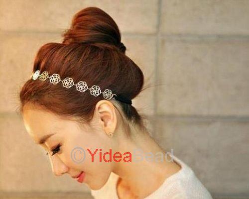 4pcs New Fashion Lovely Simply Hollow Rose Flower Elastic Headwrap Headband Hair Band 261339