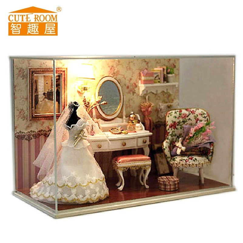 Doll home furnishings miniatura diy doll homes miniature dollhouse wood handmade toys for youngsters birthday reward  T001