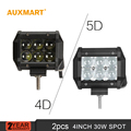 Auxmart 5D 4D 4inch 30W led light bar Offroad Spot Beam Work Light Lamp for camper