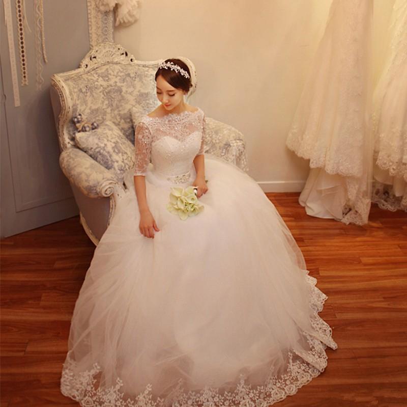 Свадебные платья пышные с кружевом внизу