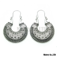 Tibetan Silver Carved Moon Vintage Ethnic Drop Dangle Earrings Retail Jewelry Jewellery Gift For Women Girls(China (Mainland))