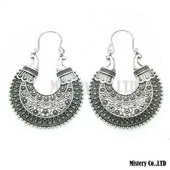 Tibetan Silver Carved Moon Vintage Ethnic Drop Dangle Earrings Retail Jewelry Jewellery Gift For Women Girls