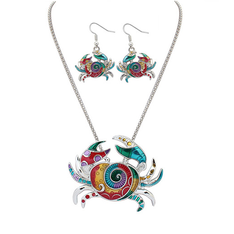 1 Set Of Lovely Fashion Crab Necklace And Earring Set,Painting Art And Resin Jewelry Sets Bohemia Style For Women Girls(China (Mainland))