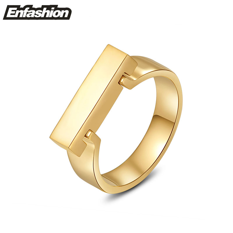 Fashion punk flat shackle shape rings for women 18K rose gold ring stainless steel ring wedding rings finger jewelry wholesale
