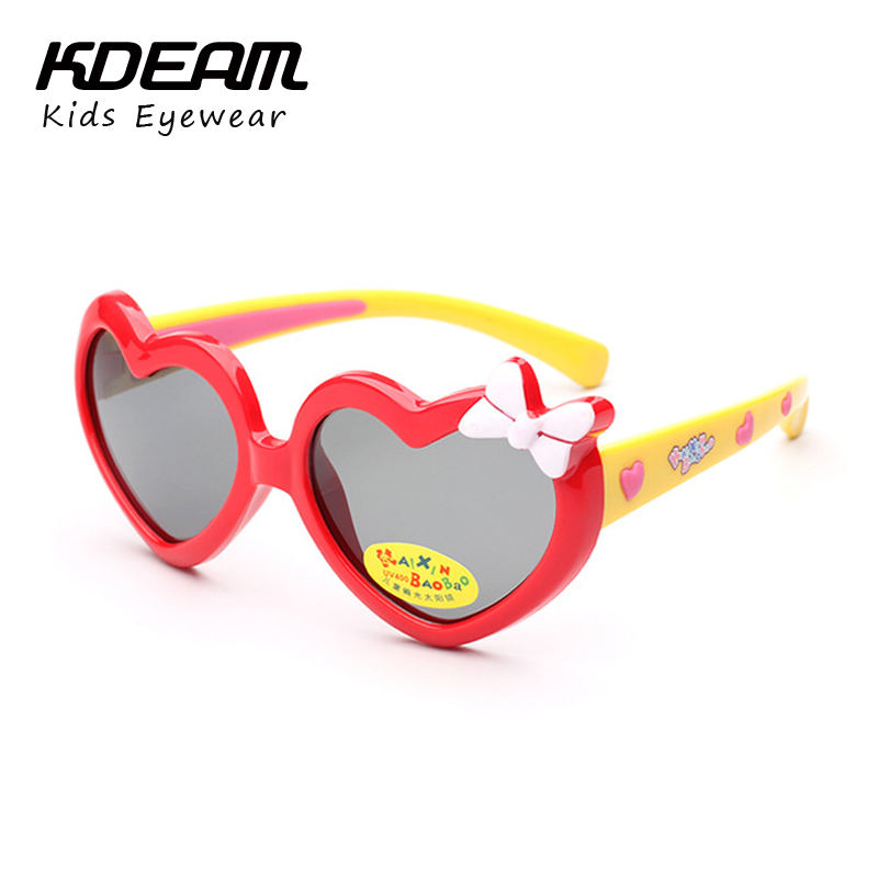 KDEAM Kids Sunglasses Polarized Child Glasses Super Light Heart Frame TR90 Silicone Children Eyeglasses Flexible Rubber With Box
