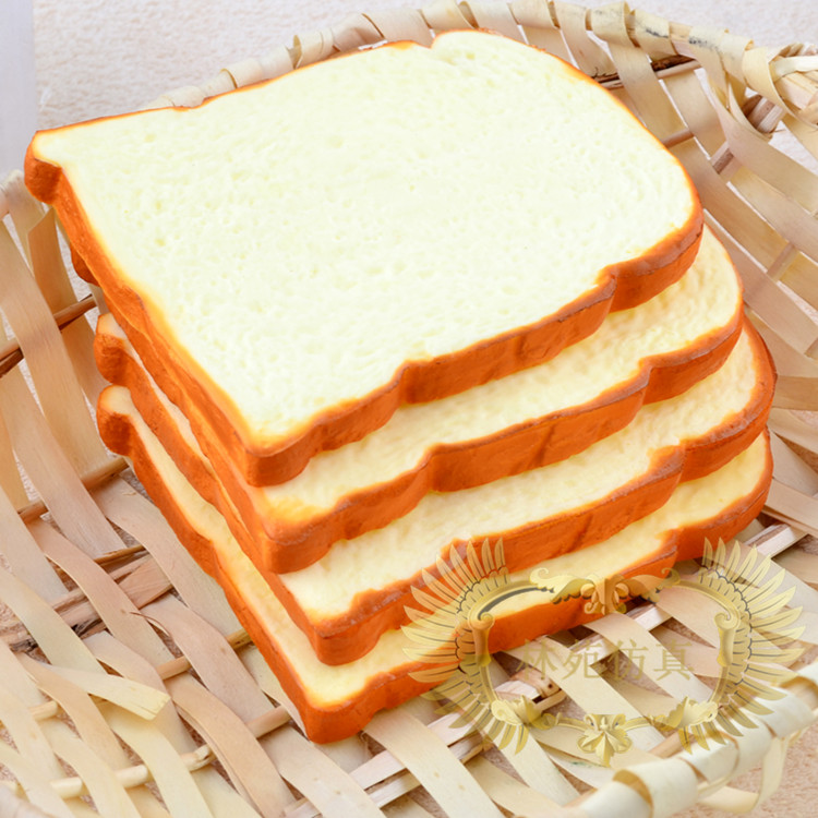 Free shipping high artificial big toast pu material for Artificial bread decoration