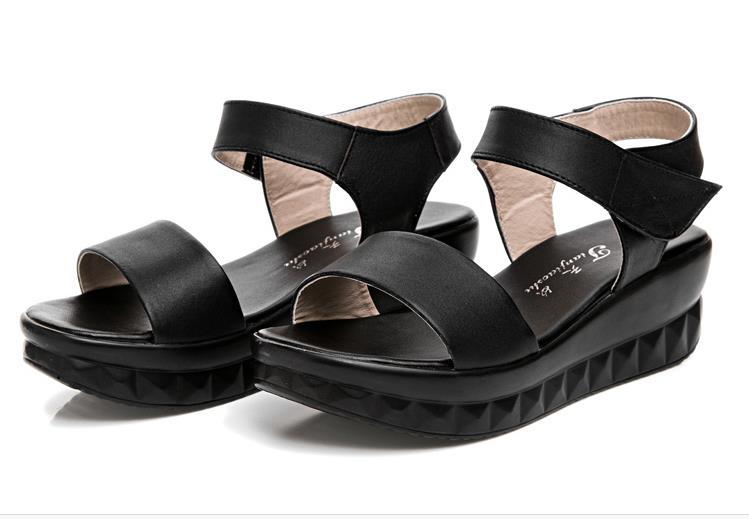 2016 summer women sandals genuine leather platform plus size sandals swing shoes wedges platform plus size sandals female shoes
