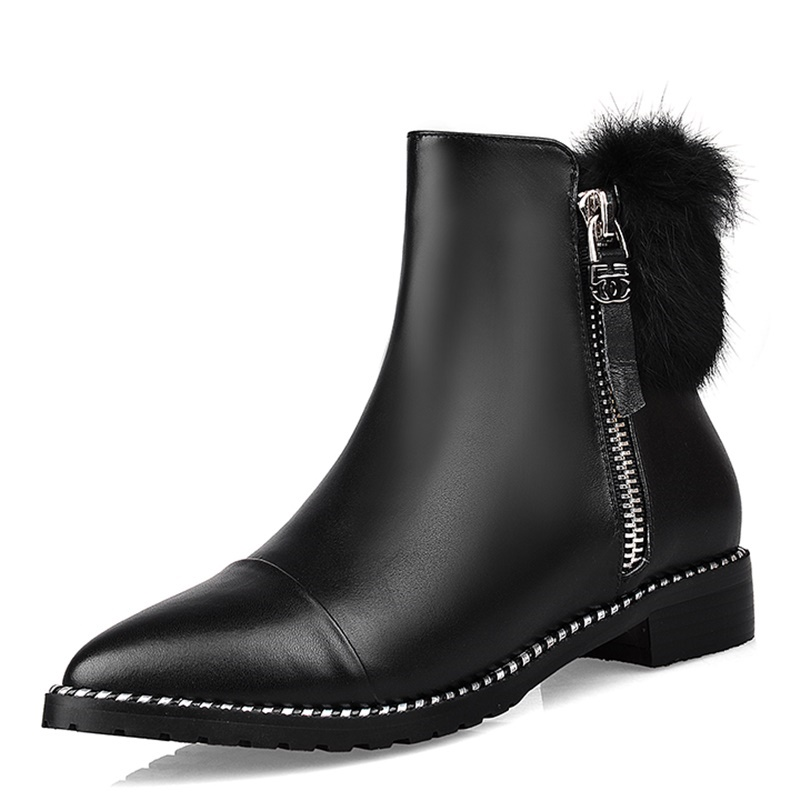 Фотография Pointed Toe platform boots winter warm plush Beautiful Grain Leather boot Feathers Square heel 3 cm ankle boots