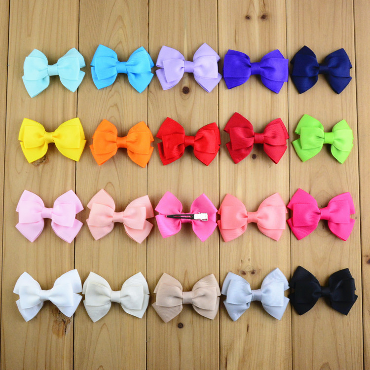 Free shipping, 20 pcs/lot , Grosgrain Ribbon Bow Tie Hair Bow Clip(China (Mainland))