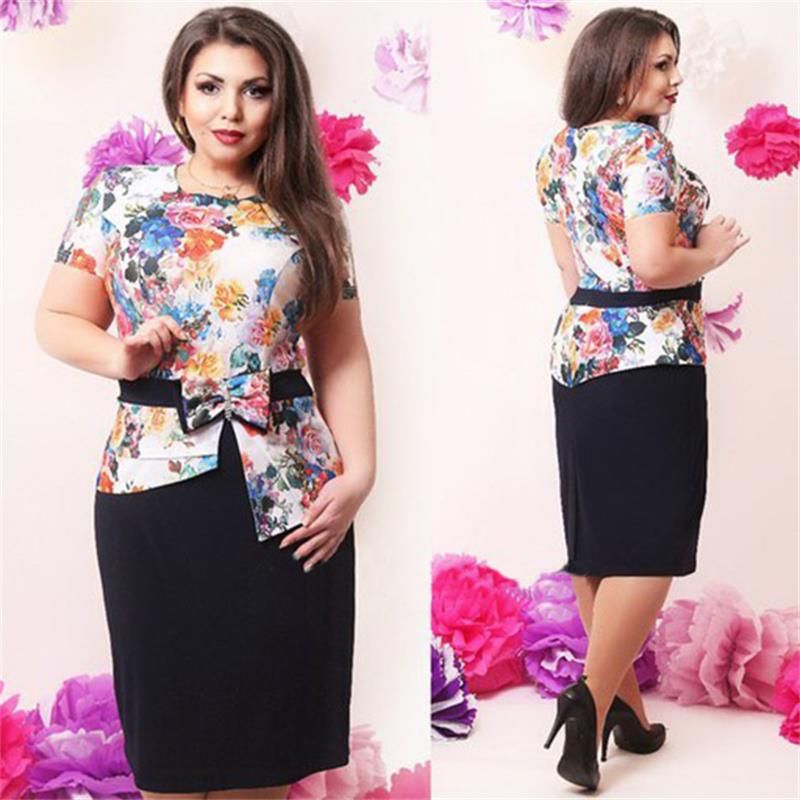 Elegant summer women dresses big sizes 2015 new plus size women clothing printed floral 6xl dress casual o-neck bodycon dress