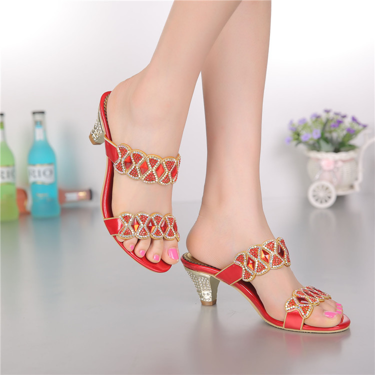 Rhinestone Leather Sandals Summer 2016 New Shoes Woman Rome High Heels Wedged Sandals Large Size 40-44 Small 33 Tenis