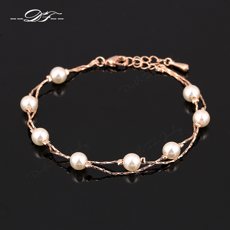 Charm Bracelets & Bangles 18K Platinum/Rose Gold Plated Fashion Simulated Pearl Beads Wedding Jewelry For Women Gift DFH169M(China (Mainland))