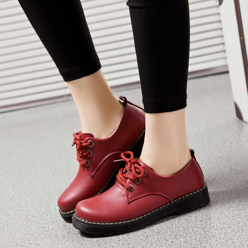 England Retro Casual Women Flats Shoes Martin Genuine Leather Shoe Height Increasing Lace Up Mujer Oxfords Ladies Shoes Cotton от Aliexpress INT