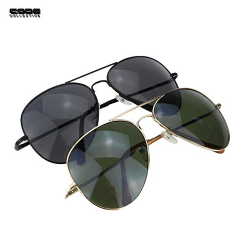 Men Pilot Brand Sunglasses Gold & Black Metal Frame Glasses Classic Stainless Steel Sunglasses Oculos Masculino SG002(China (Mainland))