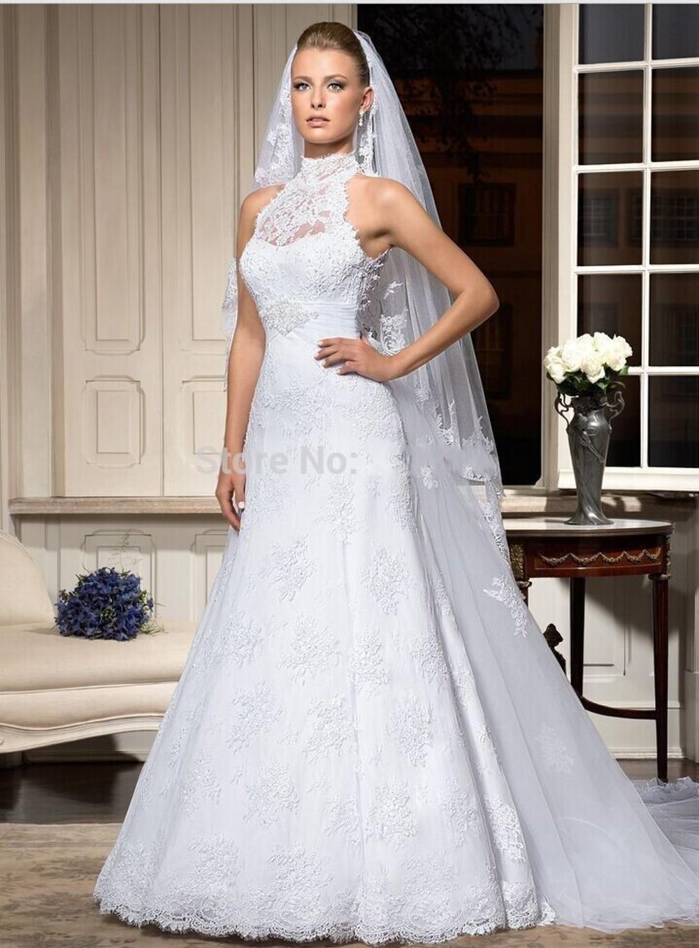 vestido de noiva 2016 renda sereia high neck open back