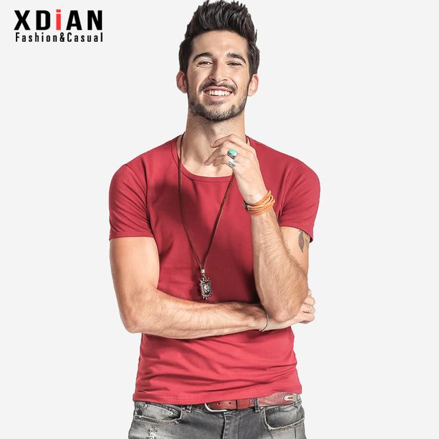 Xdian новых людей круглым воротом с коротким рукавом хлопок чистого цвета удобно многоцветный с коротким рукавом t-067