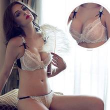 Fashion summer temptation breathable panties ultra-thin transparent lace plus size sexy bra set