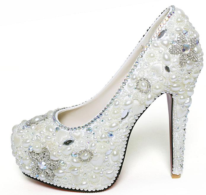 new u s white handmade pearl crystal diamond bridal wedding shoes
