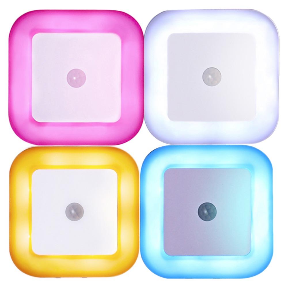 New Mini Sensor NIght Lighting Emergency Lamp 4 colors Option LED Night Light with Human Body Induction Plug In Wall Cube Light(China (Mainland))