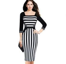 Buy Womens 1/2 sleeve black & white striped dresses Sexy Square collar Striped Office Work Business Casual Pencil Sheath Dress slim for $19.97 in AliExpress store