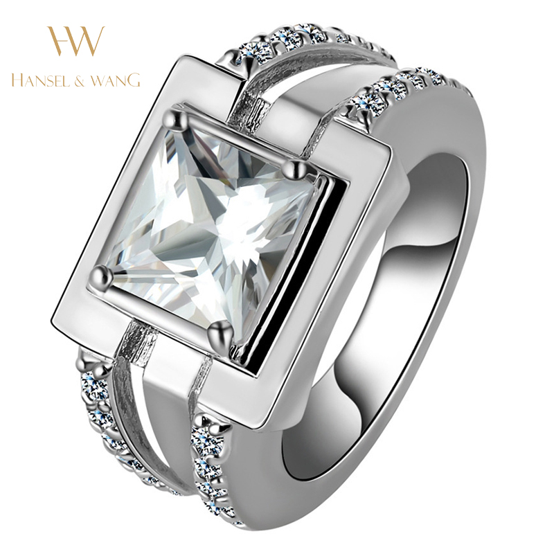 Large Square Silver Plated Womens Stainless Steel Wedding Rings For Women Ring Engagement Ring