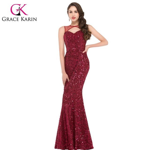 2016 грейс карин вино красный секси длинный русалка вечернее платье обручальное вечерние ...