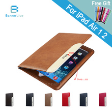 Luxury Automatic Wake-up Sleep Smart Cover PU Leather Case for iPad Air 2 Air 1 Smartcover for iPad 6 5 with Stylus Pen as Gift(China (Mainland))