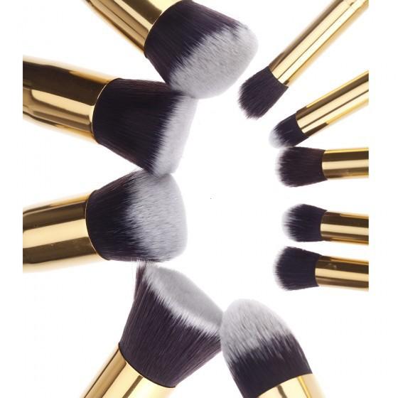 New 10 pcs/set High Quality Silver Synthetic Makeup Brush Set Cosmetics Foundation Blending blushes Makeup Tools Free Shipping(China (Mainland))
