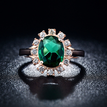 Buy Rose Gold color green crystal AAA cubic Zirconia ring jewelry engagement cocktail party rings women bijoux BAGUES MYR 013 for $2.03 in AliExpress store