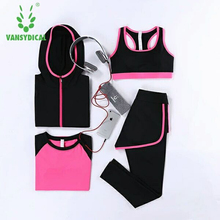 Buy Vansydical Sport Suit Women's Yoga Set 4pcs Sportswear Running Tights Womens Fitness Training Jogging Gym Suit Yoga Clothes for $27.74 in AliExpress store