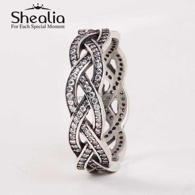 2015 новый вымощает игристое циркон плетеные кольца стерлингового серебра 925 пробы антикварные кольца для женщин известный бренд ювелирных изделий SH0572