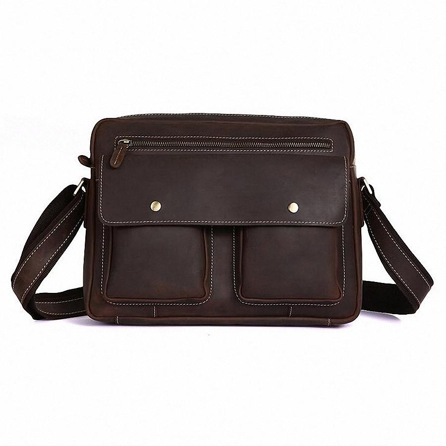 Vintage Brown Real Genuine Leather Crazy Horse Leather causal Men Messenger Bags Briefcase men cross body bags handbags LI-651<br><br>Aliexpress