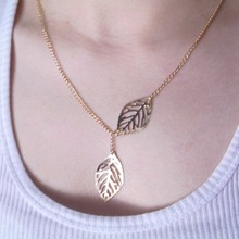 x347 New fashion golden hollow leaves leaves female charm jewelry, gold necklace pendant necklace clavicle chain