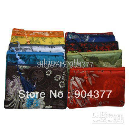 Best Phone Cover Universal Cell Phone Pouch Silk Tassel Zipper Storage Bag 10pcs/lot mix color Free