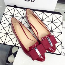 Buy 2016 Spring Autumn PU Pointed Toe Bowtie Women Flats Slip Zapatos Mujer Ladies Casual Loafers Driving Shoes Plus Size Red for $15.60 in AliExpress store
