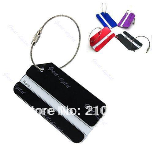 "U95""Wholesale 10pcs/lot Metal Travel Luggage Baggage Tags Aluminium Belt Buckle Adress Holder Random Color+(China (Mainland))"