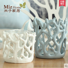 Miz Home 1 Piece White/Blue 12cm Height Resin Crystal Decorative Coral Special Candle Holder Candlestick for Wedding Party Home(China (Mainland))