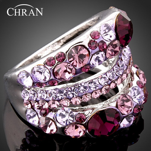 Purple Crystal Rhodium Plated Costume Women Jewelry Lovely Engagement Rings Wholesale Fashion Imitation Diamond Wedding Rings