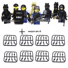 8pcs/lot CS Squad Navy Army Builder SWAT Police City Minifigures building Blocks diy assembling plastic toy  decool Compatible(China (Mainland))