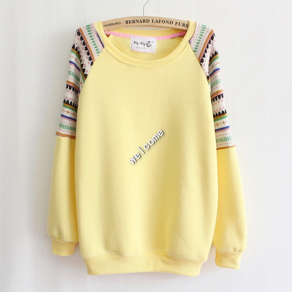 2015 camisolas high quality Mix color knitted embroidery sleeve fleece inside winter women's hoodies warm sweatshirts SV005488(China (Mainland))