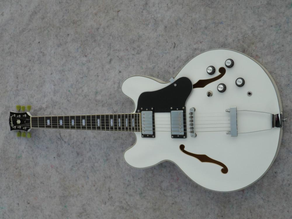 Jazz guitar,White,Chrome accessories,(China (Mainland))