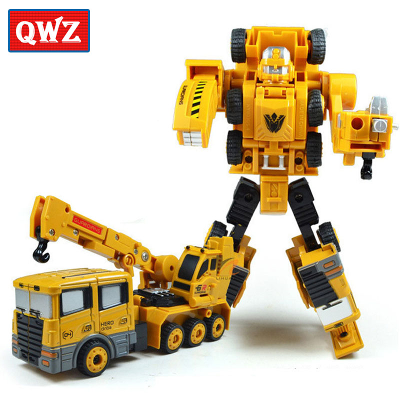 QWZ Crane Truck Engineering Transformation Robot Car Deformation Toy 2 in 1 Metal Alloy Construction Vehicle Kids Toys Gifts(China (Mainland))