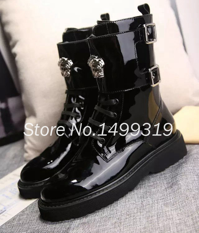 Women Brand Patent Leather Winter Women Boots Motorcycle Boot Biker Shoe Famous Designer Brand Soft Leather Fashion Winter Boots