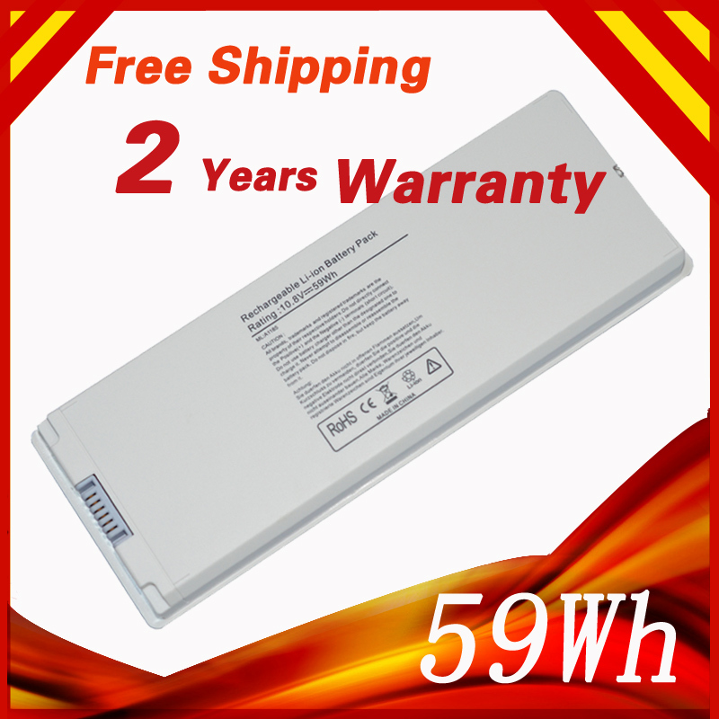 "White 59WH Laptop Battery For APPLE A1185 MA566 MA566FE/A MA566G/A MA566J/A For MacBook 13"" A1181 MA472 MA701 MA701B/A 6 cells(China (Mainland))"