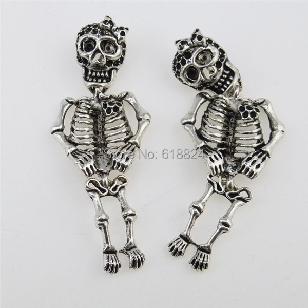 (4 pieces/lot) 12798 Vintage Silver Tone Alloy Cute Skeleton Ghost Specter Skull Pendant - jewelry style store