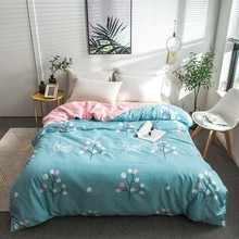 2019 Spring Blue Tree Leaf Duvet Cover 100% Cotton Bedding Sets 150*200cm,160*210cm,180*220cm,200*230cm,220*240cm Quilt Cover(China)